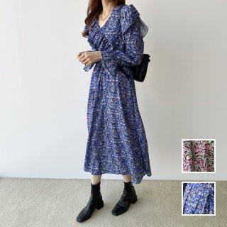 韓国 ファッション ワンピース 春 夏 秋 カジュアル PTXH610  フリル アシンメトリー ゆったり リゾート オルチャン シンプル 定番 セレカジ