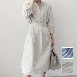 韓国 ファッション ワンピース 春 夏 秋 カジュアル PTXH830  バンドカラー ハイネック風 コンサバティブ オルチャン シンプル 定番 セレカジ