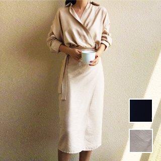 韓国 ファッション ワンピース 秋 冬 春 カジュアル PTXH836  カシュクール 襟付き ウエストマーク オフィス オルチャン シンプル 定番 セレカジ