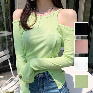 韓国 ファッション トップス Tシャツ カットソー 夏 春 カジュアル PTXH902  シアー オープンショルダー アシンメトリー オルチャン シンプル 定番 セレカジ