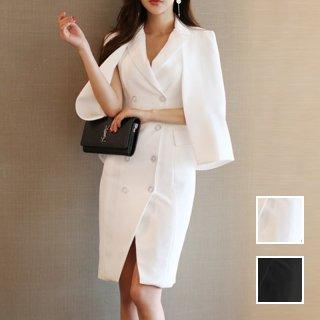 韓国 ファッション ワンピース パーティードレス ショート ミニ丈 春 夏 秋 パーティー ブライダル PTXH929 結婚式 お呼ばれ ケープジャケット フロントボタン 2 二次会 セレブ きれいめ
