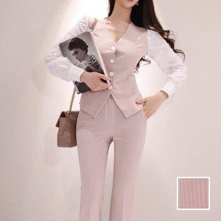 韓国 ファッション パンツ セットアップ パーティードレス 結婚式 お呼ばれドレス 春 夏 秋 パーティー ブライダル PTXH935  ペンシルストライプ ベスト風 ワイド 二次会 セレブ きれいめ