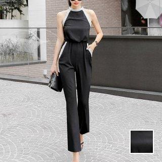 韓国 ファッション オールインワン サロペット 夏 春 パーティー ブライダル PTXH943  モノトーン ビジュー ホルターネック ワイド 二次会 セレブ きれいめ