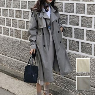 韓国 ファッション アウター トレンチコート 春 秋 冬 カジュアル PTXI043  ビッグシルエット ベーシックデザイン 着回し オルチャン シンプル 定番 セレカジ