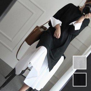 韓国 ファッション ワンピース 春 秋 冬 カジュアル PTXI044  ハイネック シャツ 重ね着風 ラフ Aライン オルチャン シンプル 定番 セレカジ