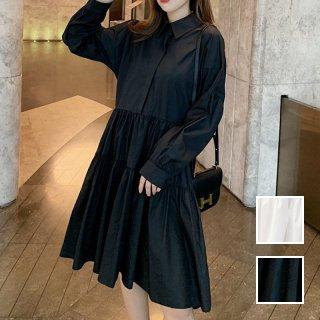 韓国 ファッション ワンピース 春 夏 秋 カジュアル PTXI149  ティアード ドレープ ギャザー ゆったり オルチャン シンプル 定番 セレカジ