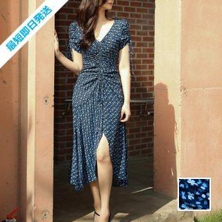 【即納】韓国 ファッション ワンピース 夏 春 カジュアル SPTXI103  小花 深Vネック パフスリーブ フィッシュテール オルチャン シンプル 定番 セレカジ