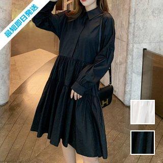 【即納】韓国 ファッション ワンピース 春 夏 秋 カジュアル SPTXI149  ティアード ドレープ ギャザー ゆったり オルチャン シンプル 定番 セレカジ