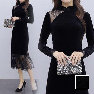 韓国 ファッション ワンピース パーティードレス ロング マキシ 春 秋 冬 パーティー ブライダル PTXI297 結婚式 お呼ばれ シースルー チャイナドレス風 フリンジ 二次会 セレブ きれいめ