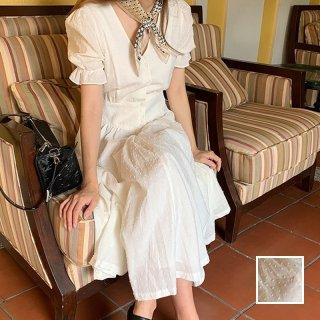 韓国 ファッション ワンピース 春 夏 カジュアル PTXI408  シアー 刺繍 ウエストマーク フロントボタン オルチャン シンプル 定番 セレカジ