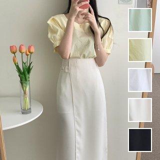 韓国 ファッション セットアップ 春 夏 カジュアル PTXI417  パフスリーブ ハイウエスト アシンメトリー オルチャン シンプル 定番 セレカジ