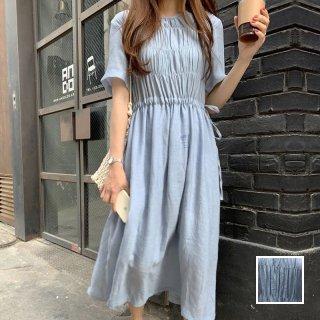 韓国 ファッション ワンピース 春 夏 カジュアル PTXI421  ゆったり ペールカラー ギャザー マキシ丈 オルチャン シンプル 定番 セレカジ