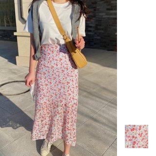 韓国 ファッション セットアップ 春 夏 カジュアル PTXI427  フェミニン 小花 セミタイト 2点セット オルチャン シンプル 定番 セレカジ