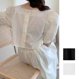韓国 ファッション ワンピース 春 夏 カジュアル PTXI432  バックコンシャス パフスリーブ フェミニン オルチャン シンプル 定番 セレカジ