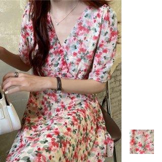 韓国 ファッション ワンピース 夏 春 カジュアル PTXI435  シアー シフォン カシュクール パフスリーブ オルチャン シンプル 定番 セレカジ