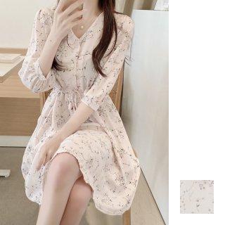 韓国 ファッション ワンピース 春 夏 秋 カジュアル PTXI443  ノーカラー Vネック ウエストシェイプ ミニ オルチャン シンプル 定番 セレカジ