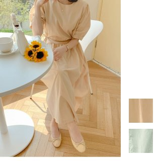 韓国 ファッション ワンピース 春 夏 カジュアル PTXI465  シャーベットカラー サイドリボン パフスリーブ オルチャン シンプル 定番 セレカジ