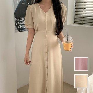 韓国 ファッション ワンピース 春 夏 カジュアル PTXI478  ノーカラー Vネック パフスリーブ フレア オルチャン シンプル 定番 セレカジ
