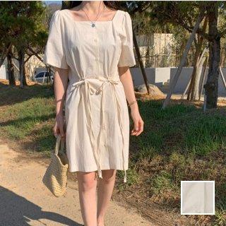 韓国 ファッション ワンピース 春 夏 カジュアル PTXI492  リネン風 ナチュラル スクエアネック ミニ オルチャン シンプル 定番 セレカジ