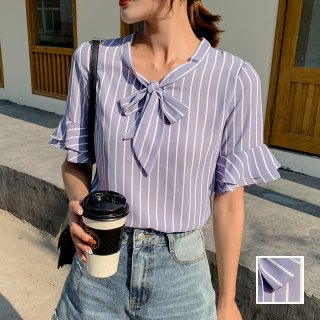 韓国 ファッション トップス ブラウス シャツ 春 夏 秋 カジュアル PTXI498  バンドカラー風 ボウタイ ペールカラー オルチャン シンプル 定番 セレカジ