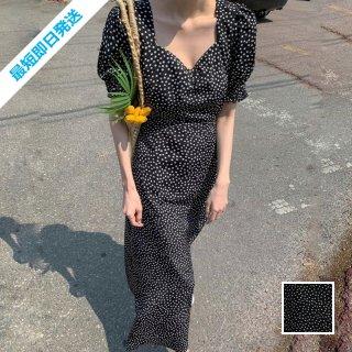【即納】韓国 ファッション ワンピース 春 夏 カジュアル SPTXI450  小花 モノトーン マキシ パフスリーブ Aライン オルチャン シンプル 定番 セレカジ
