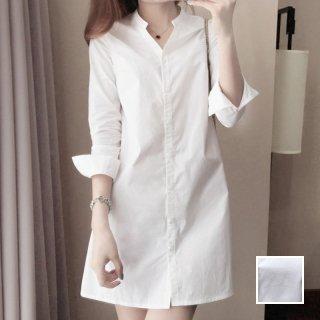 韓国 ファッション トップス チュニック 夏 春 秋 カジュアル PTXI657  バンドカラー 白シャツ マイクロミニワンピ オルチャン シンプル 定番 セレカジ