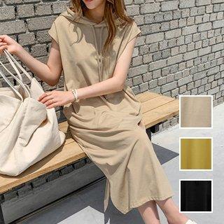 韓国 ファッション ワンピース 夏 春 カジュアル PTXI692  フレンチスリーブ風 パーカーワンピース マキシ オルチャン シンプル 定番 セレカジ