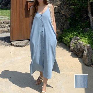 韓国 ファッション ワンピース 春 夏 秋 カジュアル PTXI695  デニム フロントボタン ゆったり ジャンスカ オルチャン シンプル 定番 セレカジ
