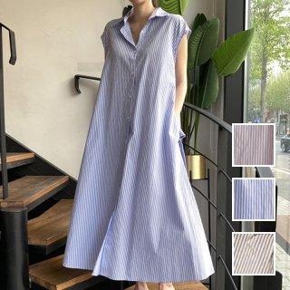 韓国 ファッション ワンピース 夏 春 カジュアル PTXI699  ストライプ フレンチスリーブ エレガント オルチャン シンプル 定番 セレカジ