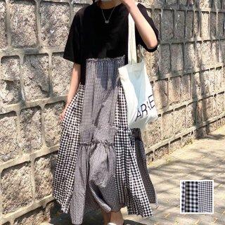 韓国 ファッション ワンピース 春 夏 カジュアル PTXI717  ゆったり ティアード プリーツ 切替え Tワンピ オルチャン シンプル 定番 セレカジ