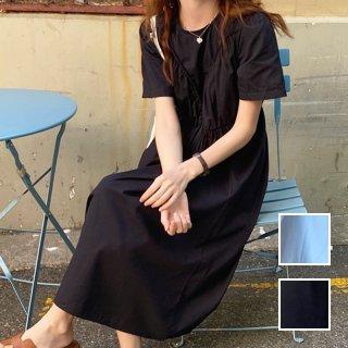 韓国 ファッション ワンピース 夏 春 カジュアル PTXI866  ギャザーディテール ゆったり リラクシー オルチャン シンプル 定番 セレカジ