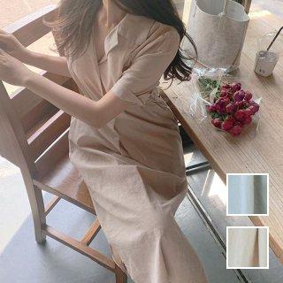 韓国 ファッション ワンピース 夏 春 カジュアル PTXI869  ペールカラー シャツワンピ オープンカラー オルチャン シンプル 定番 セレカジ