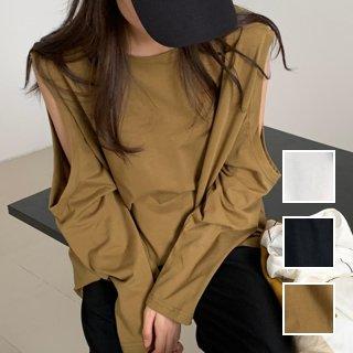 韓国 ファッション トップス Tシャツ カットソー 秋 冬 春 カジュアル PTXI923  オーバーサイズ 肌見せ オープンショルダー オルチャン シンプル 定番 セレカジ