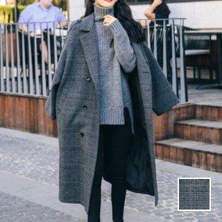 韓国 ファッション アウター コート 春 秋 冬 カジュアル PTXJ258  グレンチェック オーバーサイズ マキシ丈 オルチャン シンプル 定番 セレカジ