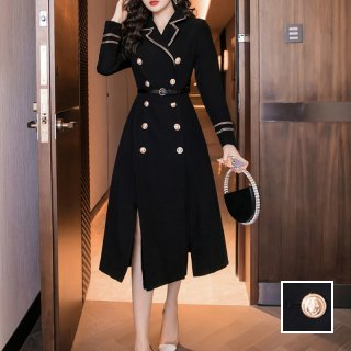 韓国 ファッション ワンピース パーティードレス ロング マキシ 春 秋 冬 パーティー ブライダル PTXJ381 結婚式 お呼ばれ ミリタリー調 フロントスリット Aライ 二次会 セレブ きれいめ