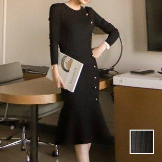 韓国 ファッション ワンピース パーティードレス ひざ丈 ミディアム 春 秋 冬 パーティー ブライダル PTXJ423 結婚式 お呼ばれ アシンメトリー 金ボタン マーメイ 二次会 セレブ きれいめ