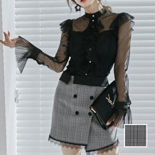 韓国 ファッション パーティードレス 結婚式 お呼ばれドレス セットアップ 春 夏 秋 パーティー ブライダル PTXJ425  シースルー ハイネック ローウエスト ミニ 二次会 セレブ きれいめ