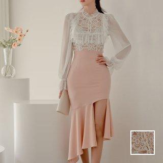 韓国 ファッション パーティードレス 結婚式 お呼ばれドレス セットアップ 春 夏 秋 パーティー ブライダル PTXJ427  シースルー フリル ドレープ マーメイド 二次会 セレブ きれいめ