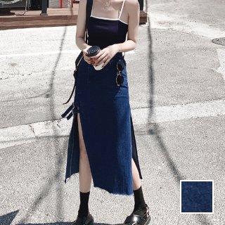 韓国 ファッション スカート ボトムス 春 夏 秋 カジュアル PTXJ514  デニム フリンジ タイト スリット ミニ オルチャン シンプル 定番 セレカジ