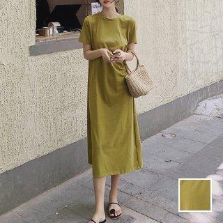 韓国 ファッション ワンピース 春 夏 カジュアル PTXJ515  ニュアンスカラー Tシャツワンピ ゆったり オルチャン シンプル 定番 セレカジ