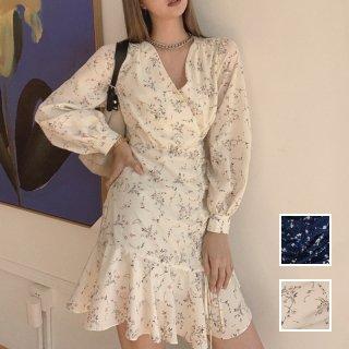 韓国 ファッション ワンピース 春 夏 秋 カジュアル PTXJ542  カシュクール アシンメトリー マーメイド オルチャン シンプル 定番 セレカジ