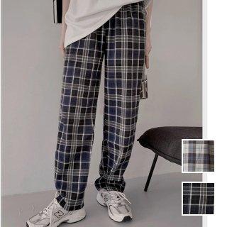 韓国 ファッション パンツ ボトムス 春 夏 秋 カジュアル PTXJ743  渋色 チェック ワイド ストレート ラフ オルチャン シンプル 定番 セレカジ
