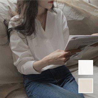 韓国 ファッション トップス ブラウス シャツ 春 夏 秋 カジュアル PTXJ749  アシンメトリー 深Vネック オーバーサイズ オルチャン シンプル 定番 セレカジ