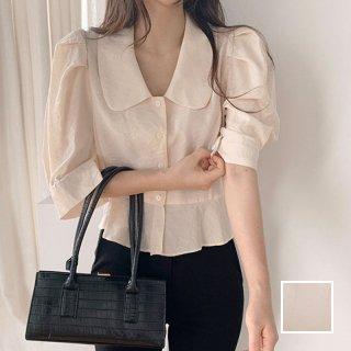 韓国 ファッション トップス ブラウス シャツ 春 夏 カジュアル PTXJ752  オーバーショルダー パフスリーブ ペプラム オルチャン シンプル 定番 セレカジ