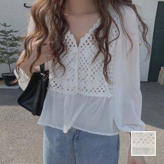 韓国 ファッション トップス ブラウス シャツ 春 夏 カジュアル PTXJ753  透かし編みニット シアー ドッキング ペプラム オルチャン シンプル 定番 セレカジ