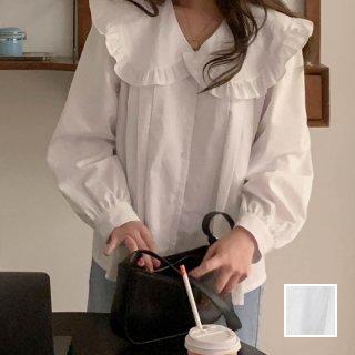 韓国 ファッション トップス ブラウス シャツ 春 夏 秋 カジュアル PTXJ757  フリル ビッグカラー タック スモック風 オルチャン シンプル 定番 セレカジ