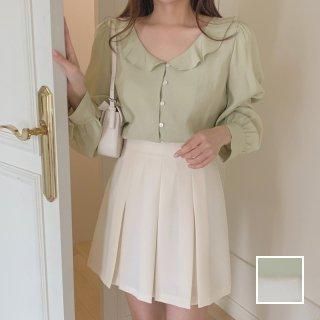 韓国 ファッション セットアップ 春 夏 秋 カジュアル PTXJ765  デコルテ見せ フリル プリーツ ミニスカート オルチャン シンプル 定番 セレカジ
