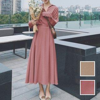 韓国 ファッション ワンピース 春 夏 カジュアル PTXJ825  オーバーサイズ ウエストマーク ドレープ オルチャン シンプル 定番 セレカジ