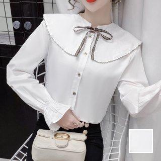 韓国 ファッション トップス ブラウス シャツ 春 夏 カジュアル PTXJ847  スカラップ ビッグカラー ステッチ リボン オルチャン シンプル 定番 セレカジ