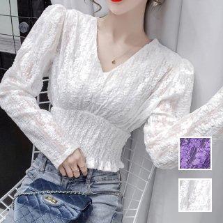 韓国 ファッション トップス ブラウス シャツ 春 夏 カジュアル PTXJ856  パフスリーブ ハイウエスト シャーリング オルチャン シンプル 定番 セレカジ